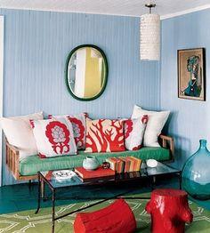 small beach cottage interior - blue tint on panel