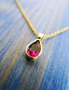 Pink Tear Drop. Pink Tourmaline Drop Shape Set In Classic 18K Gold Tear. With 18K Gold Chain. Gold Tourmaline Pendant. Birthstone Charm. on Etsy, 1,610.64₪