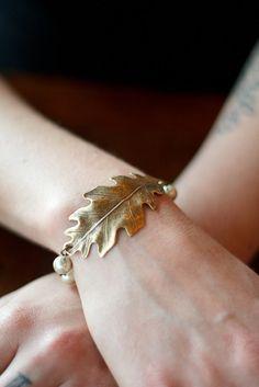Brass Oak leaf Bracelet - glass pearls - toggle clasp via Etsy.