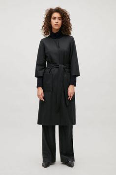 COS image 4 of Belted wool dress in Black