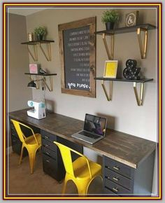 60 favorite DIY office desk design and decoration ideas . - 60 favorite DIY office desk design and decoration ideas - Craft Room Office, Decor, Home Office Decor, Interior, Desk Design, Office Desk Designs, Diy Office, Office Design, Diy Office Desk