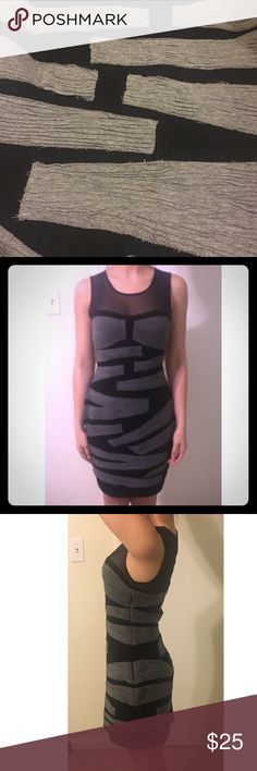 Black and gray unique dress Such a fun and sexy piece! There is a lining in the dress. Also has.  Side zip. In good pre- owned condition. Bailey 44 Dresses