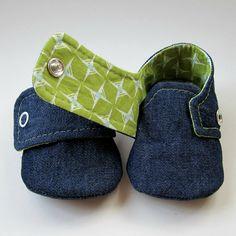 Baby Booties in Dark Denim and Green Cotton  Sizes 1-4