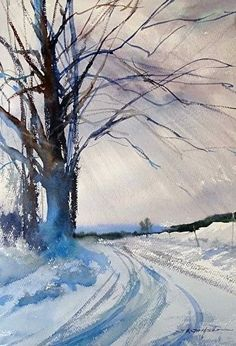 Image result for Art Painting - Freshness of Snow - Watercolor Landscape Contemporary Fine Art - Colorful Print - Transparent Purple Colors