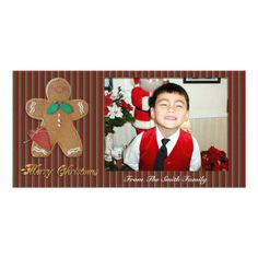 Merry Christmas Photo card gingerbread man