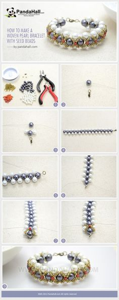 How to Make a Woven Pearl Bracelet with Seed Beads - Full Tutorial With Photos