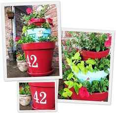 stacked pots with house number. if i ever grow a green thumb....until then, FAKE flowers it will be!