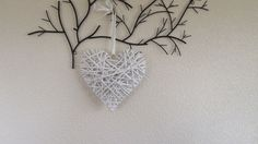WHITE WICKER WOOD HANGING HEART SHABBY CHIC RUSTIC 12x12 in  #Unbranded