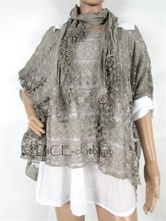 NEW Italian Cotton Collar Shirt Oversize Lagenlook Lace Top & Scarf Set #Unbranded #OtherTops #Casual