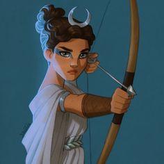 Artemis, goddess of the hunt and moon Artemis, Göttin der Jagd und des Mondes Artemis Art, Mythology Art, Percy Jackson Art, Moon Goddess, Artemis Goddess, Art, Mythology, Greek Mythology Art