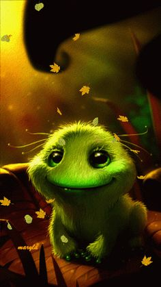 CUTE GREEN CRITTER IN FALLING LEAVES