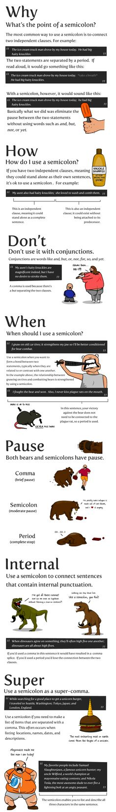 How to Use a Semicolon I thought infographics were supposed to make things easier to understand. This one just proved to me that we should eliminate semicolons all together. Death to the semicolon!<< But it is easy to understand. Writing Advice, Writing Resources, Writing Help, Writing Skills, Writing A Book, Writing Prompts, Essay Writing, Writing Courses, Writing Services