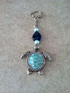 Metal Sea Turtle Key Chain by BeadDazzledbyRoz on Etsy, $12.00