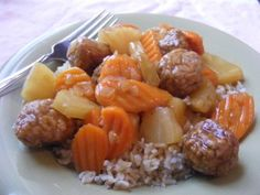 Sweet and Sour Meatballs   OAMC from Once A Month Mom - Dinner