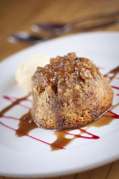 A dessert of Sticky Toffee Pudding at Restaurant X in Davidson. www.restaurantx-davidson.com.