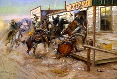 An wonderful idea for a gift of horse art is a painting by the great western artist, Charles Marion Russell. Several of Russell's works are displayed, together with a brief biography. Charles Marion Russell, Art Occidental, Art Watercolor, West Art, Le Far West, Oil Painting Reproductions, Old West, Horse Art, American Artists