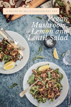 This hearty Vegan Lentil Salad is a nutritional powerhouse packed with French lentils, mushrooms, and lemon. And it comes together fast with just a handful of ingredients which you probably already have in your pantry! Vegetarian Main Dishes, Vegetarian Recipes, Vegan Vegetarian, Vegan Food, Heart Healthy Recipes, New Recipes, Cooking Recipes, Recipies, Favorite Recipes
