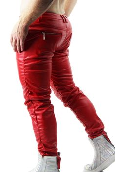 Leatherjeans Leather Orange Pant Plain Leather Real Leather Riding Breeches