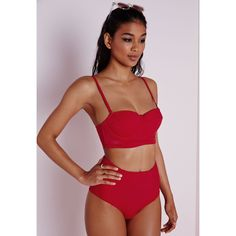 Missguided High Waisted Bikini Bottoms ($17) ❤ liked on Polyvore featuring swimwear, bikinis, bikini bottoms, red, retro swimwear, summer bikini, red high waisted bikini, high waisted two piece and high rise bikini