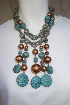 LES BERNARD Vintage Antiqued Copper Necklace and by Vintageables