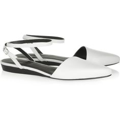 Alexander Wang Scored-leather flats (€160) ❤ liked on Polyvore featuring shoes, flats, sandals, white, flat, flat pumps, white flat shoes, pointy-toe flats, white shoes and flat pointed-toe shoes