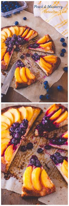 Peach & Blueberry Brioche Tart