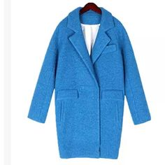 2014 Newest Hot Silkworm Cocoon Coat Ladies Fashion High Quality Winter Long Coat Woolen Jacket Covered Button Blue/Yellow