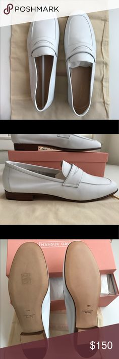 """Mansur Gavriel White Loafer Beautiful white loafer from Mansur Gavriel. New in box, never worn. They run a bit small and I missed the return deadline.   From Matches Fashion: """"Mansur Gavriel's loafers are stunning in their simplicity. They're expertly crafted in Italy from soft, supple leather. Wear them with everything from tailored trousers to feminine midi dresses."""" The size is EU/IT 39.5 but these will fit a 8.5 normal (not wide). Mansur Gavriel Shoes Flats & Loafers"""