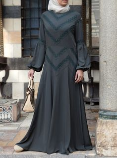 Ishya Lace Abaya Gown Abaya Fashion, Muslim Fashion, Fashion Wear, Women's Fashion Dresses, Woman Fashion, Abaya Pattern, Tunic Sewing Patterns, Islamic Clothing, Different Dresses