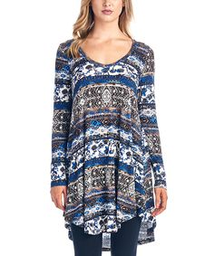 Another great find on #zulily! Navy Geometric Hi-Low Tunic by Brooke & Emma #zulilyfinds now $12.99 was $50