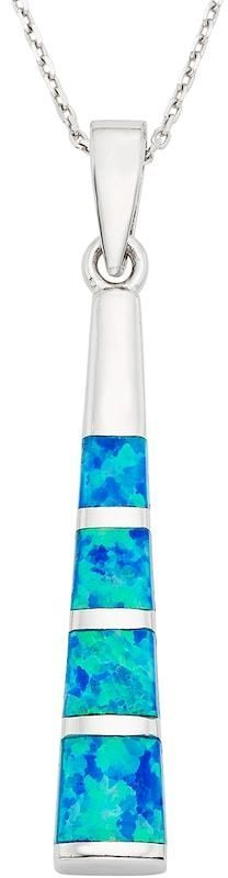 Kohl's Lab-Created Blue Opal Sterling Silver Stick Pendant Necklace