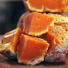 Mimolette is a French cheese with a deep rich nutty butterscotch taste. Deliciously good!