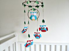Owl mobile - baby mobile - woodland - You pick your colors - red, blue and white - Nursery decor