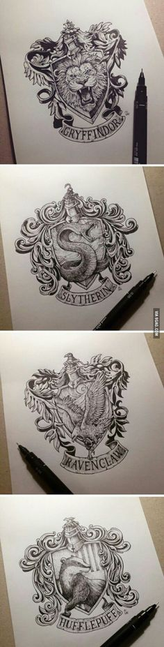Disegni pennarello delle casate di Hogwarts: Grifondoro, Serpeverde, Corvonero e Tassorosso. #Hogwarts #HP #HarryPotter #Fandom #Magic #Disegni