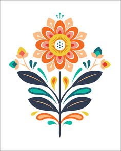 Bright Floral Print by Clairice Gifford, via Behance Art And Illustration, Floral Illustrations, Polish Folk Art, Scandinavian Folk Art, Flower Art, Folk Art Flowers, Print Patterns, Tile Patterns, Art Drawings