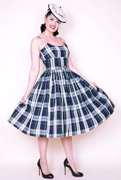 Chelsea Pin Up Dress in Blue Plaid
