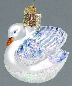Old World Christmas Small Swan Glass Ornament
