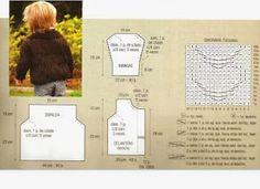 TRICO y CROCHET-madona-mía: Chaqueta para niños 2 años a tricot con receta del tejer Crochet For Boys, Knitting For Kids, Baby Knitting, Crochet Cardigan Pattern, Knit Crochet, Baby Kids, Baby Boy, Projects For Kids, Ravelry