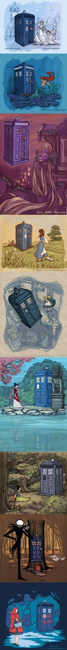 Doctor Who gets around...using Disney Princesses as his new companions | Very nice mash here. | Follow here http://pinterest.com/cakespinyoface/geekery/ for even more Geekery-- art, tech and more!