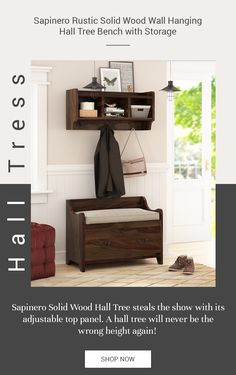 Emulate a visual and functional coherence in your entryways, foyers, and corridors by furnishing with our stylish Sapinero Rustic Solid Wood Wall Hanging Hall Tree Bench with Storage!   #halltree #entryway #solidwood #shoestorage #furniture #cornerentryway #cornerhalltree #homedecor #decor #interiordecor #interior #interiordesign #bench  #benchwithstorage #hanginghalltree