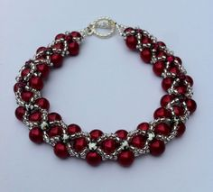 Beadwoven  Red Pearl Bracelet Showy Cheryl by OrbObsession on Etsy, $24.00