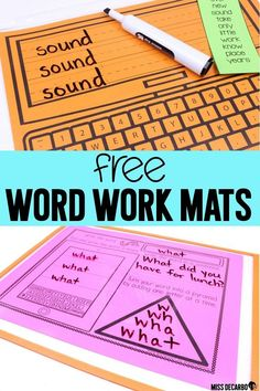 FREE word work mats for spelling, sight words, weekly word lists, and more! Just place these word work mats in a sheet protector for an instant write on/wipe off literacy center or sight word center! Great for small group reading word work, too! Plus, col