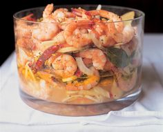 Chef Frank Stitt's Pickled Shrimp recipe - served cold so you can make it ahead of time and transport it to the tailgate in your cooler!
