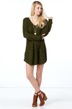 Night In Olive Green Sweater at reddressboutique.com