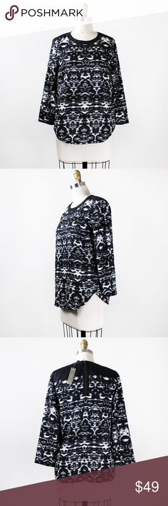 """{J.Crew} Blurred Ikat Top Black, white and graphic all over, it's trimmed with wool flannel an an exposed zipper for a mix of texture and hardware.   • Bust: 17"""" armpit to armpit (34"""" around) • Length: 26"""" • Sleeve Length: 19"""" • New with tags!  Item B4735  No trades   