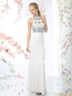 Sheath Long High Neck Sleeveless Jersey Keyhole Dress With Crystal Detailing