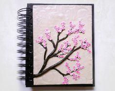 Polymer clay cherry blossom journal or notebook by designsbyjo.deviantart.com on @DeviantArt