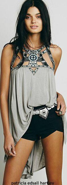 bohemian cut out neckline top #Unique_Boho_Style