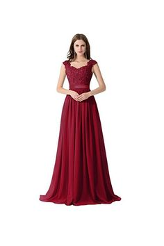 A Line Chiffon Lace Evening Gowns Prom Dresses PG274