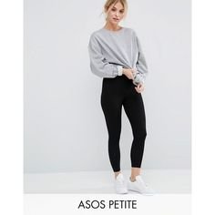ASOS PETITE Ankle Length Leggings ($13) ❤ liked on Polyvore featuring pants, leggings, black, petite, ankle length leggings, petite elastic waist pants, high-waist trousers, high waisted stretch pants and cropped leggings